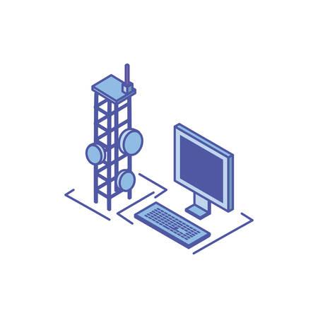 desktop computer screen with telecommunications tower vector illustration design