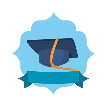 graduation hat supply back to school flat badge ribbon vector illustration