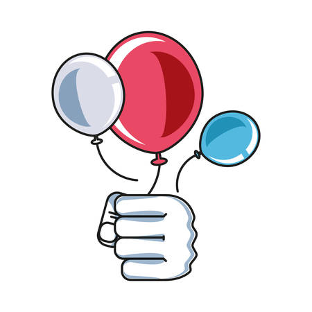 hand fist power with balloons helium vector illustration design