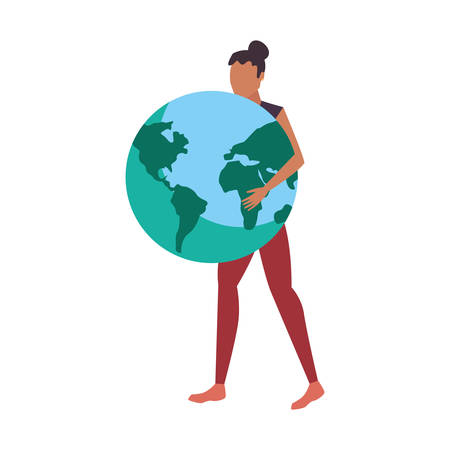 woman holding world globe map vector illustration