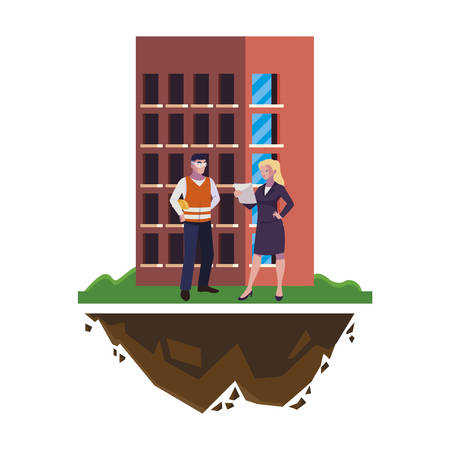 male builder constructor with woman engineer and building vector illustration Illusztráció
