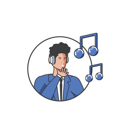 elegant businessman worker with earphones and music notes vector illustration Иллюстрация