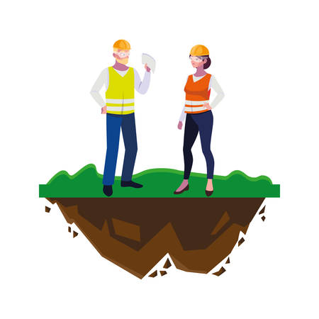 couple of builders constructors workers on the lawn vector illustration design Illusztráció