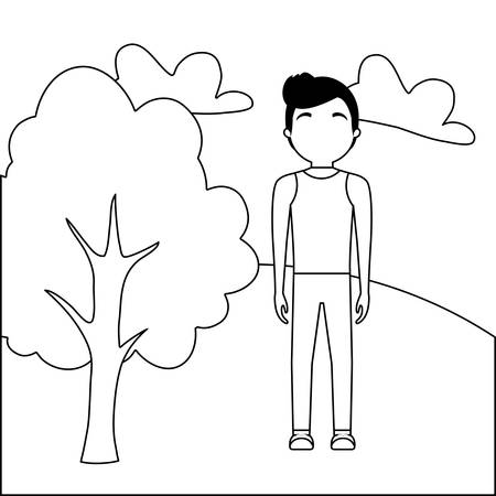 young man attractive in landscape nature vector illustration design Иллюстрация