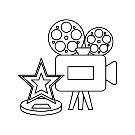 cinema video camera with star vector illustration design