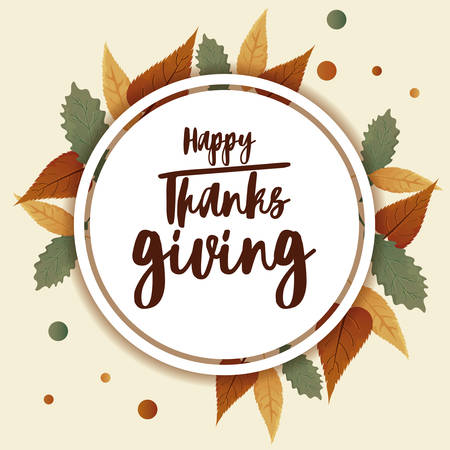 card with label happy thanksgiving and autumn leaves vector illustration design