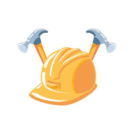hammers tools with helmet secure vector illustration design Ilustrace
