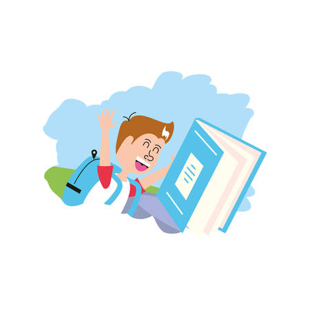 cute little student boy with book closed vector illustration design Ilustracja