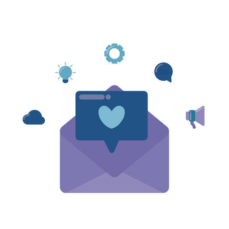 social media marketing with envelope mail vector illustration design