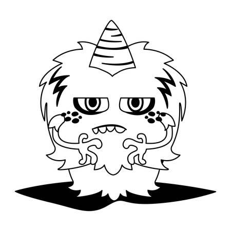 funny monster with horn comic character vector illustration design Illusztráció