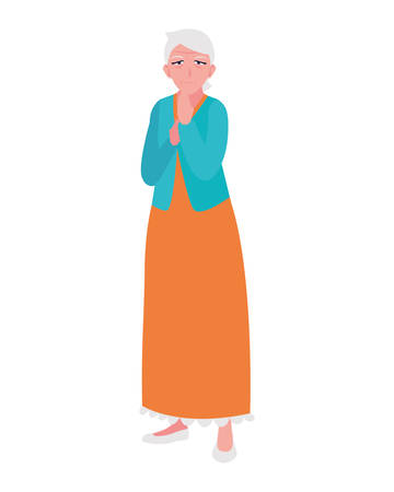 Grandmother cartoon design, Old person grandparents woman avatar senior and adult theme Vector illustration Foto de archivo - 133907789