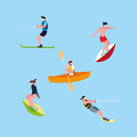 group of people practicing sports extreme vector illustration design Illustration