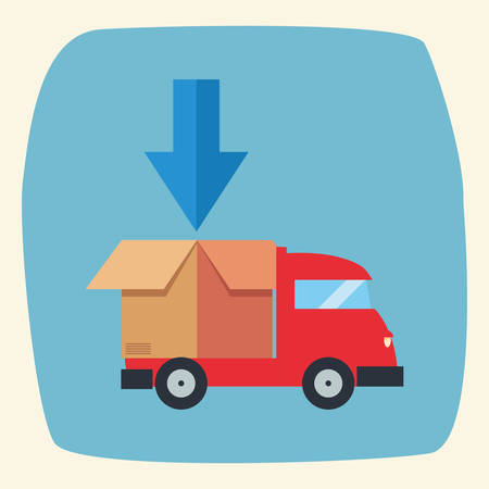 truck cardboard box fast delivery logistic vector illustration