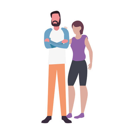 man and woman characters avatars on white background vector illustration