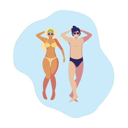 young couple with swimsuit floating in water vector illustration design