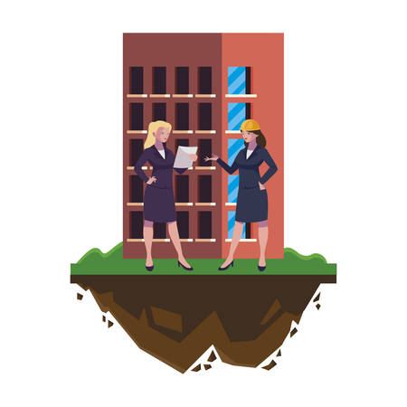 female engineers builders workers with building vector illustration design Çizim