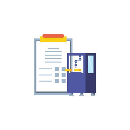 industrial production machine with checklist vector illustration design Ilustracja
