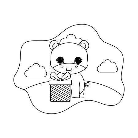cute hippopotamus animal with gift box vector illustration design