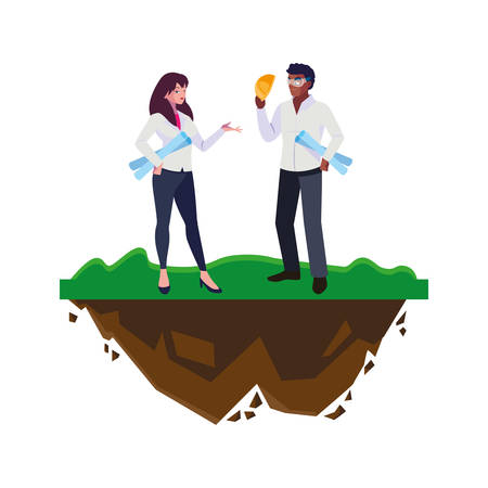 afro male builder with female engineer characters vector illustration design Vectores