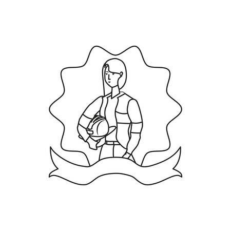 female firefighter worker avatar character vector illustration design