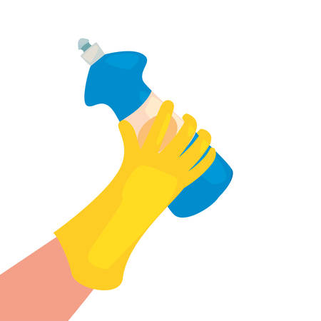 hand with glove bottle cleaning products and supplies vector illustration Çizim