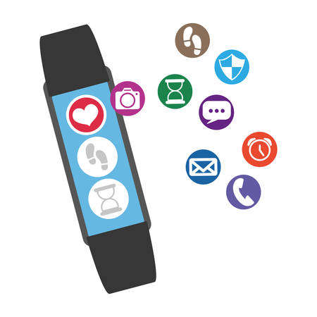 smartwatch technology with apps set vector illustration design Illusztráció
