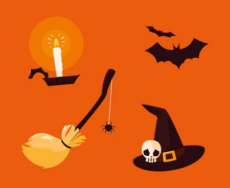 set of objects halloween decoration vector illustration design Ilustracja