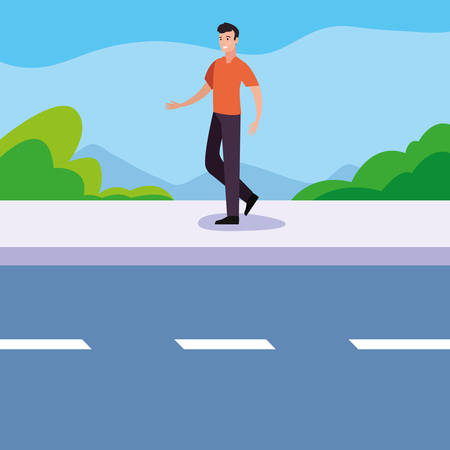 happy young people man in the street vector illustration