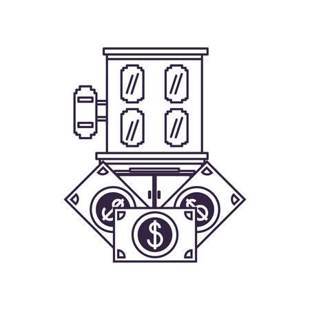 hotel building place with bills dollars vector illustration design Illusztráció