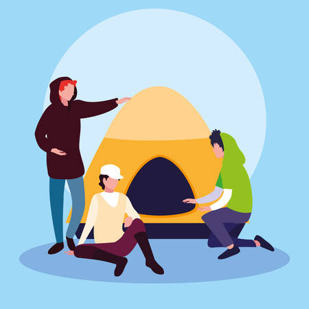 young men with tent campaing vector illustration design Ilustrace