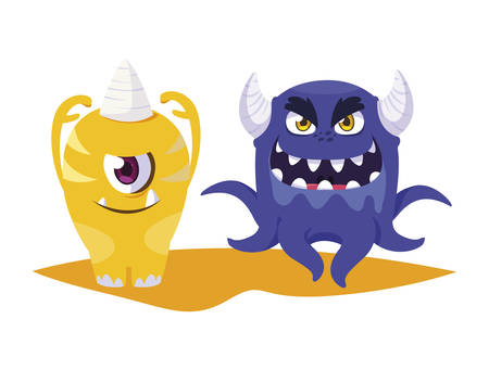 funny monsters comic characters colorful vector illustration design
