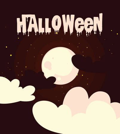 poster of halloween with clouds and moon vector illustration design Stock Illustratie