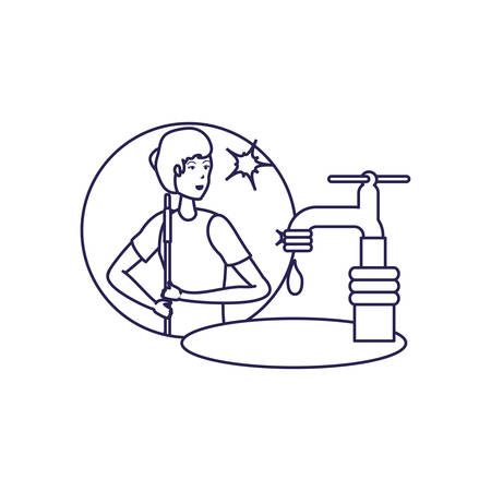 Woman cartoon and cleaning design, home work hygiene equipment domestic and housework theme Vector illustration Çizim