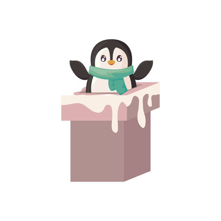cute penguin entering the chimney on white background