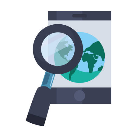 smartphone world magnifier fast delivery logistic vector illustration