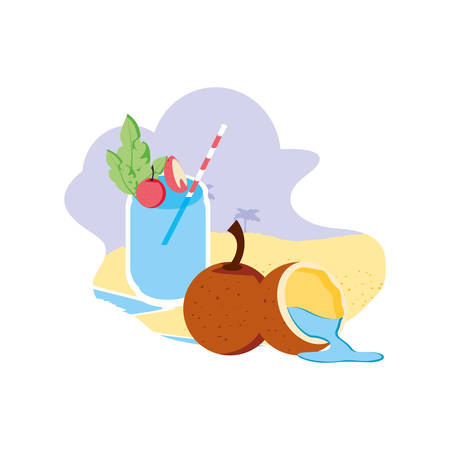 fresh coconut with half fruit in the beach and juice vector illustration design