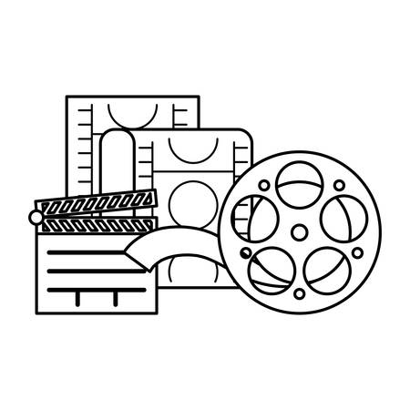 cinema reel tape with clapboard and tape vector illustration design