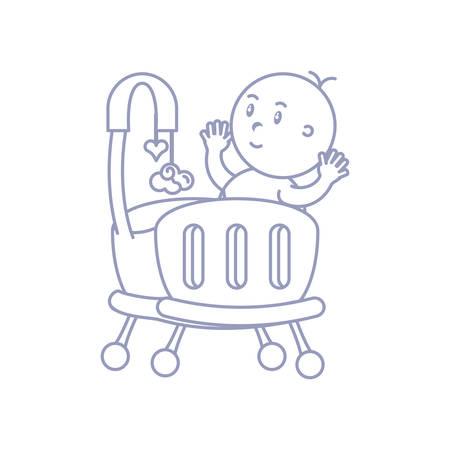 baby boy in cute crib avatar character vector illustration design