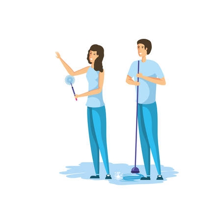 Woman and man cartoon cleaning design, Object home work hygiene equipment domestic and housework theme Vector illustration