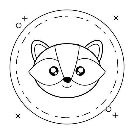 head of cute little raccoon baby in frame circular vector illustration design Stock Illustratie
