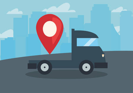 truck location pointer fast delivery vector illustration 向量圖像