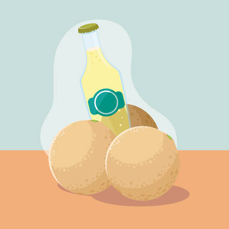 cantaloupe fresh with bottle of juice natural vector illustration design