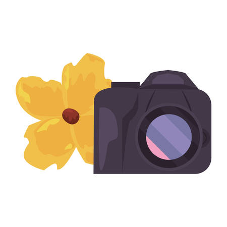 summer time holiday camera and flower vector illustration