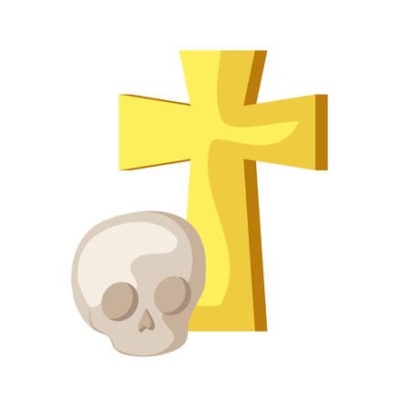 skull dead halloween with cross isolated icon vector illustration design