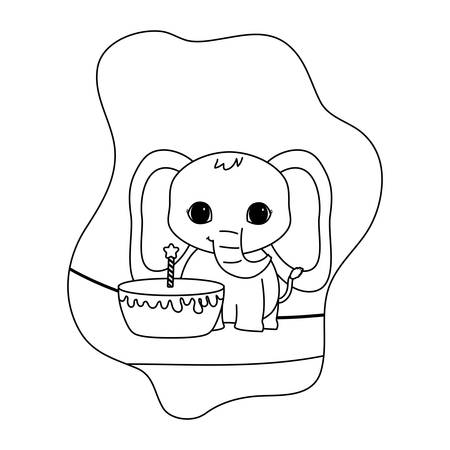 cute elephant animal with cake birthday vector illustration design