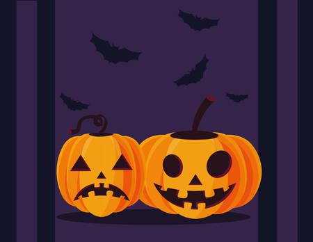 Pumpkins cartoons design, Halloween holiday horror scary celebration autumn dark and party theme Vector illustration