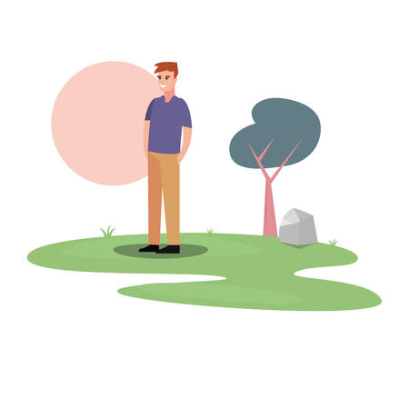 man character in the park outdoor vector illustration