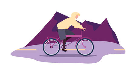man riding bicycle activity outdoors scene vector illustration Ilustração