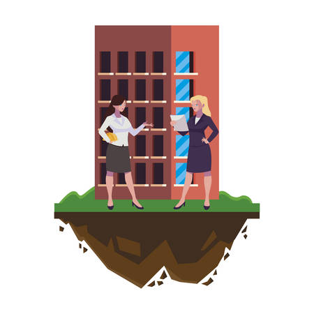 female engineers builders workers with building vector illustration design Ilustracja