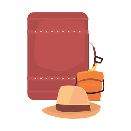 summer time holiday suitcase hat bucket vector illustration
